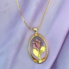 Vintage Necklace Gold Plated Purple Frosted Glass Flower Pendant r1C