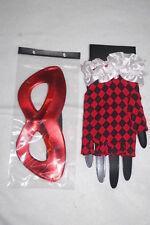 Halloween Costume Accessories RED BLACK CHECKERED FINGERLESS GLOVES Eye Mask