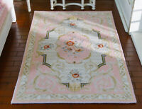 Beautiful Chic French Swirls Pastel Pink Floral 1/12 Dollhouse Miniature Rug