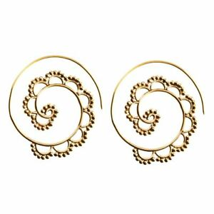 81stgeneration Brass Gold Tone Spiral Ethnic Tribal Earrings