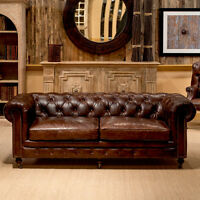 89'' VINTAGE CIGAR BROWN RESTORATION CHESTERFIELD  TOP GRAIN LEATHER LARGE SOFA