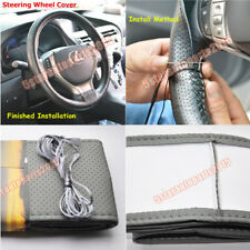 DIY Stitch PU Leather Steering Wheel Cover Needle + Thread Anti-slip Size-M Grey