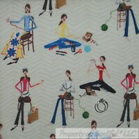 BonEful Fabric Cotton Quilt VTG White Tan Chevron Girl Art Pattern Print L SCRAP