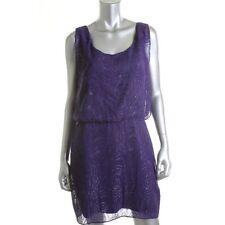 Laundry by Shelli Segal Purple Metallic Sleeveless Cocktail Dress 8 - NEW
