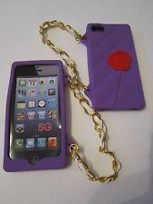 Purple Cliche Purse Hand Bag Case & Strap iPhone 5 5s Patterned Silicone Full