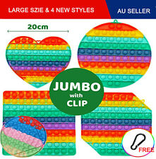 Jumbo 20CM Pop Its Fidget with Clip Finger Silicone Toy Bubble Squeeze it Kids