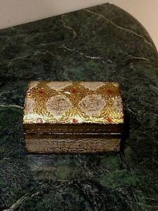 Vintage Italian Florentine Tole Gilt Wood  Trinket / Jewelry Box Domed Top