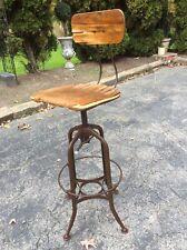 Vintage Industrial Toledo Stool Wood / Metal -Adjusts 28� To 33� - Good