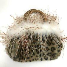 New Cadari Grab Bag Small Mini Handle Beige Brown Soft Faux Fur Feathers 291836