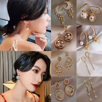 Charm Gold Pearl Crystal Ear Stud Earrings Drop Dangle Women Wedding Jewelry Hot