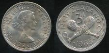 New Zealand, 1965 Threepence, 3d, Elizabeth II - Uncirculated
