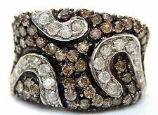 14K White Gold Round Cut Champagne,Chocolate and Clear 1.8 ct Diamonds Ring #E