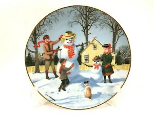 Danbury Mint Collectible Plate SNOWY FRIENDS Old Time Country Winter Snowman