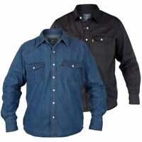 Duke Mens New Western Authentic Cowboy Denim Shirt Stonewash Blue Black BNWT