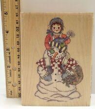 Peek a boo Snowman Christmas wood mounted rubber stamp Hampton Art Winter 1999