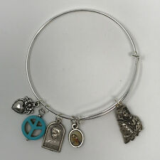 Virgin Mary- Silver Adjustable Bangle Bracelet With Religious Themed Charms