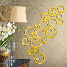 24pcs Circle Mirror Wall Sticker Removable Decal Art Mural DIY Home Decor