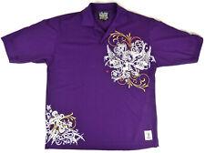Old Skool Urban Wear Mens Size L-XL Purple Polo Style Shirt White Graphics - EUC