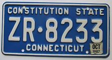 Connecticut 1987 License Plate HIGH QUALITY # ZR-8233