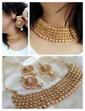 Handmade Indian Bollywood Fashion Gold Plated Wedding Choker Necklace Set d514