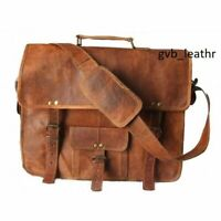 "Messenger Real Satchel Bag Genuine Laptop Briefcase 15"" Vintage Leather reusable"