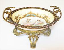 Antique Sevres Porcelain Gilt Champlevé Bronze Centerpiece Compote