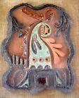 Unkown Artist Vintage 1960-70 Framed Israel Ceramic Plaque