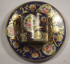 ANTIQUE MINIATURE LIMOGES? PORCELAIN CUP & SAUCER HAND PNTD COBALT ROSES GOLD