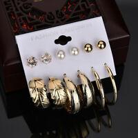 Women Round Hoop Earrings Charm Rhinestone Pearl Earring Set 6 Pairs Ear Stud