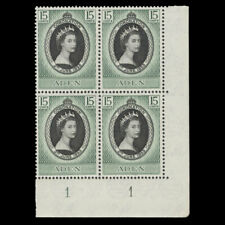 Aden 1953 (MNH) 15c Coronation plate 1–1 block
