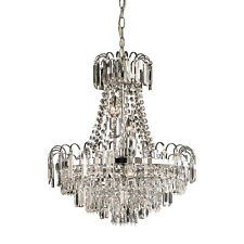 ENDON Amadis 6 Light Clear Faceted Glass & Chrome Plate Chandelier 96826-CH