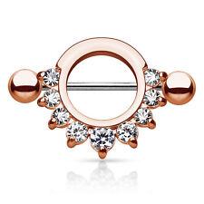"Pair of Half Circle CZ Gem Gold IP Surgical Steel Nipple Rings Shield 14G 9/16"""