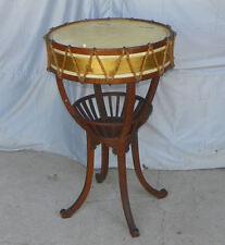 Unusual Antique Oak Drum Table - Lift Top Storage Compartment