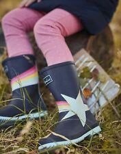 Joules Girls Roll Up Wellies - Navy Shooting Star