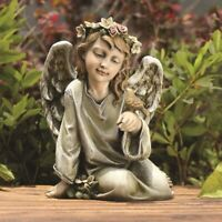 Kneeling Angel with Bird Cherub Girl Home Garden Decor Statue Figurine