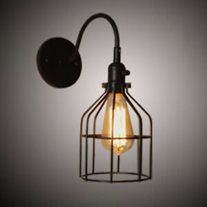 Vintage Industrial Wire Cage Wall Sconce Metal Lantern Porch Wall Light Fixtures