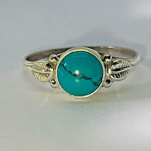 Brand New Sterling Silver 925 Turquoise (Round) Ring, Size L 1/2