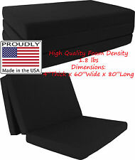 "Queen Size Black Trifold Floor Foam Beds 4""x60""x80"" Foldable foam Ottoman Bed"