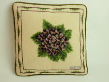 "Vintage Hand Crafted Needlepoint Pillow 13"" Square Violet Bouquet Green Velvet"
