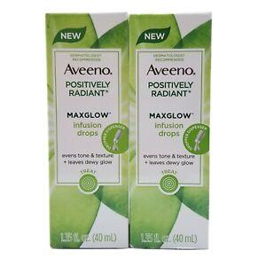 2 Aveeno Positively Radiant MaxGlow Infusion Drops 1.35 fl oz Soy & Kiwi Complex