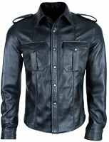 MEN'S HOT REAL SHEEP LEATHER POLICE UNIFORM BLUFF GAY FULL SLEEVES SHIRT