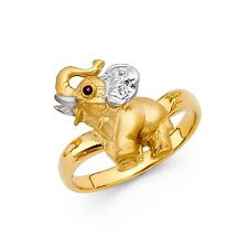 Elephant Ring CZ Solid 14k White Yellow Gold Baby Elephant Band Curve Good Luck