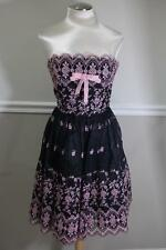 Betsey Johnson PINK EMBROIDERY CHIFFON BLACK STRAPLESS DRESS 8 (dr200)