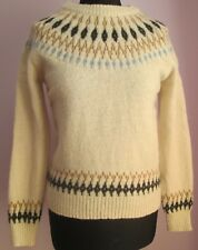 VTG Ladies CIAOPANIC Cream Crew Neck Thin Icelandic Style Jumper Size Small(63a)