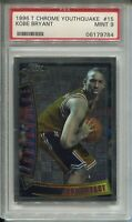 1996 Topps Chrome Kobe Bryant Rookie Card RC Graded PSA MINT 9 #YQ15 Youthquake