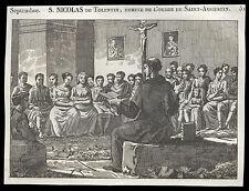 santino incisione 1800* S.NICOLA DA TOLENTINO
