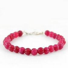 Red Ruby Round Carved Beads Bracelet Premium Quality 91.30 Cts Earth Mined Rich