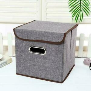 4Pcs Foldable Square Canvas Storage Box with Lid Fabric Cube Boxes Cloth Basket