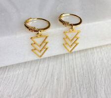 Gold Geometric Triangle Hoop Earrings