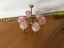 1/12th scale dolls house miniature, Chandelier, Five Arm Pink Shades